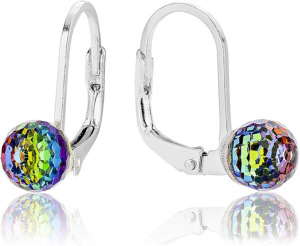 DTP Silver – Pendientes de plata con Cierre de palanca - Forma de Esfera/Bola - Plata 925 con Colgante de Cristal Swarovski Diámetro 6 mm - Colores diferentes