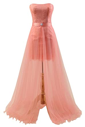 Manfei Two Piece Prom Dresses 2017 Detachable Train Long Evening Gowns - Pink -