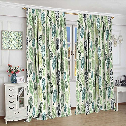 youpinnong Leaf Widened Room Darkening Curtains Doodle Style Leaves Freshness of The Spring Season Theme Palm Tree Foliage Art Drapes for Living Room 120