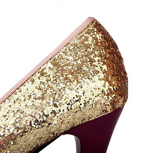 Voguezone009 Hæler Pu sko Runde on Pumper Tå Kattunge Kvinners Lilla Pull wqrCwUaP