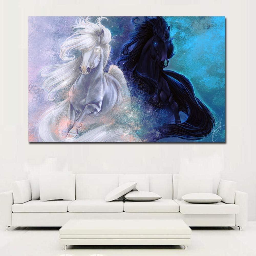MhY Cuadro en Lienzo Arte de la Pared Impresiones Animales Blanco y Azul Caballos Arte de la Pared Imágenes Decorativas Decoración para el hogar Pinturas 40x60cm Sin Marco