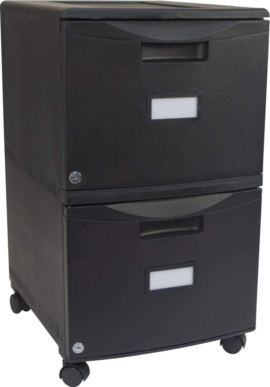DK Furniture 2-Drawer Mobile File Cabinet with Lock, 18.25 x 14.75 x 26 Inches, Legal/Letter, All Black