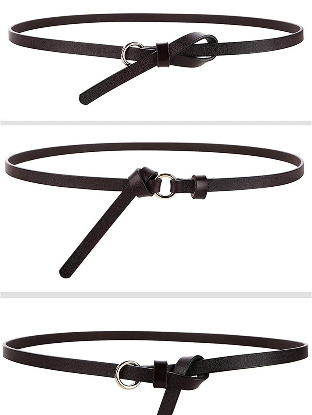 Leather knotted and tied leather belt