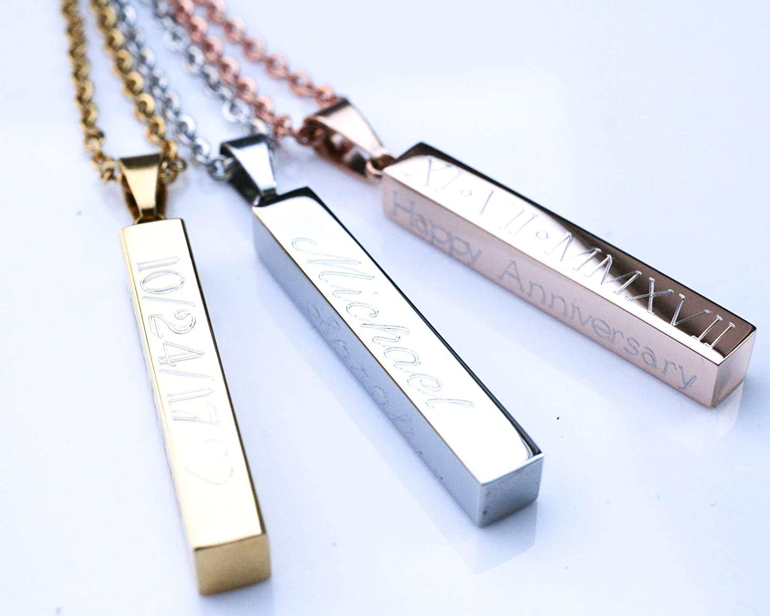 Custom Names Necklace Message Engraved Dainty Jewelry for Men MeMoShe Personalized 4 Sided Vertical Bar Necklace