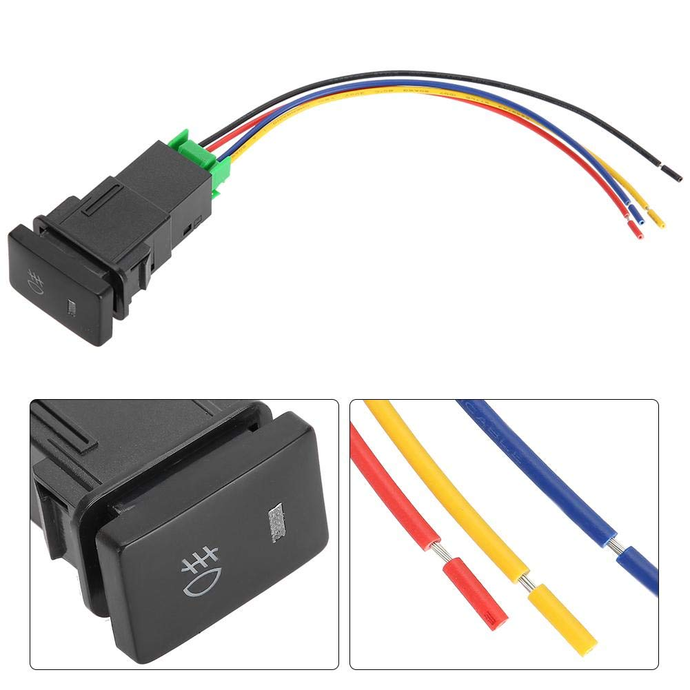 Universal 12V 4 Pole Push Button Switch with LED Background Indicator Light with Wire Leads for 2006-2011 RAv4