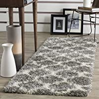 Shag Runner Rug in Ivory and Gray (9 ft. L x 2 ft. 3 in. W)
