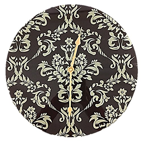 Home Decorators Collection Wall Clock Round Tempered Glass Floral Damask 12