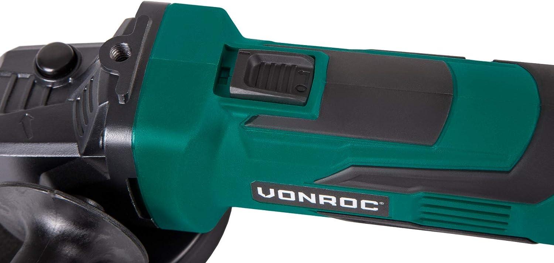 VONROC Smerigliatrice angolare a batteria VPOWER 20V disco 115mm Include una batteria da 4.0Ah e caricabatterie rapido