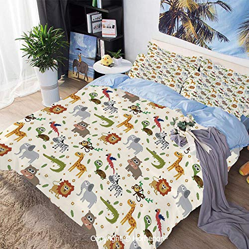 Homenon Bedding Sheets Set 3-Piece Bed Set,African Australian Childish Fauna Silly Faces Safari Lion Elephant Crocodile,Queen Size,for Bedroom Guest Room,Multicolor ()