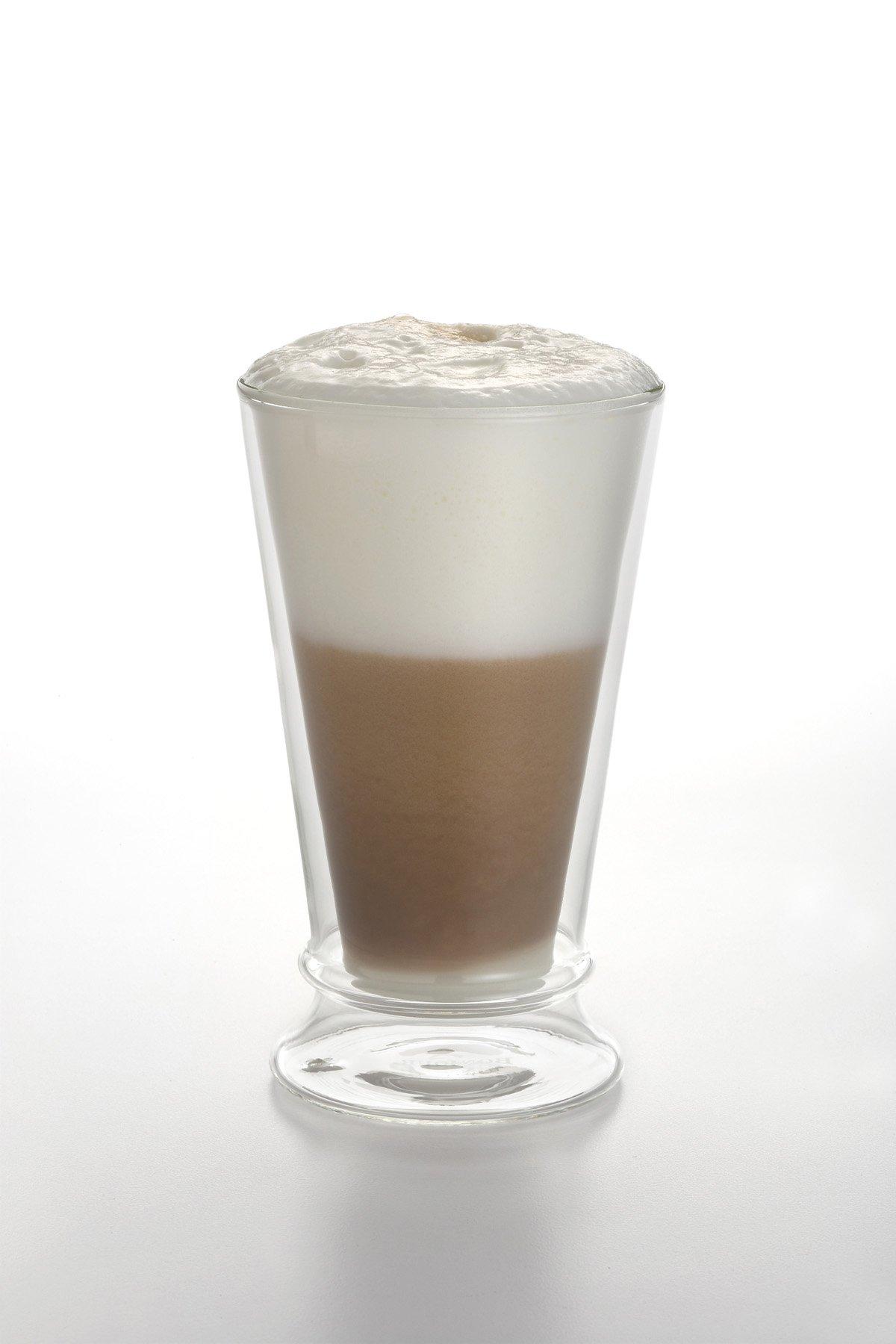 BonJour Coffee Insulated Borosilicate Glass Latte Glasses, 2-Piece Set, 12-Ounces Each