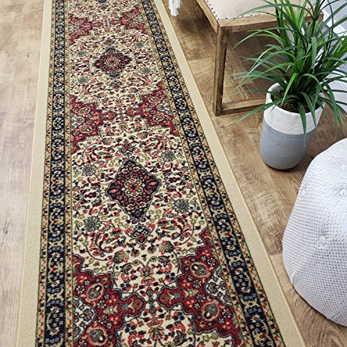 CUSTOM CUT 31-inch Wide by 30-feet Long Runner, Beige Medallion Traditional Non Slip, Non-Skid, Rubber Backed Stair, Hallway, Kitchen, Carpet Runner Rug - Choose your Width by (Cut Medallion)