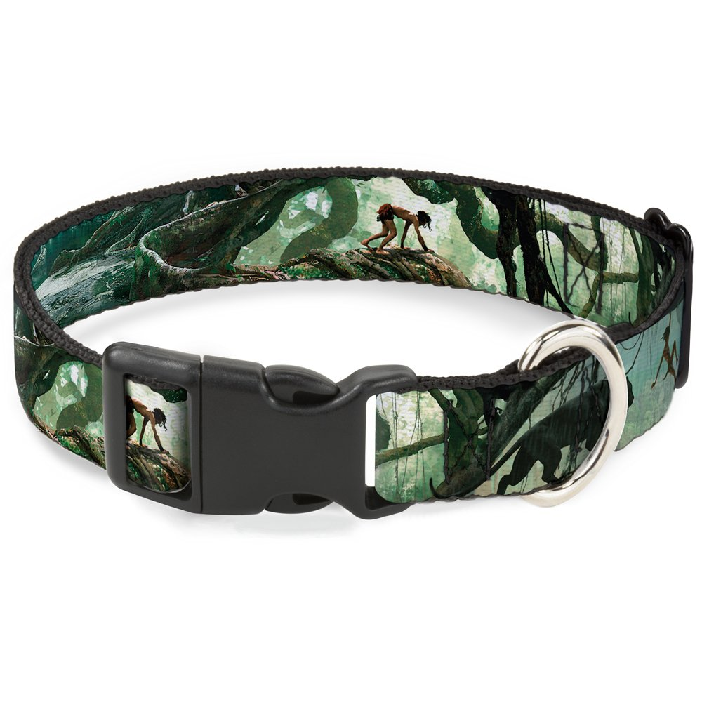 Buckle-Down Plastic Clip Collar Mowgli Action Poses & Shere Khan Jungle Scene 1.5  Wide Fits 18-32  Neck Large