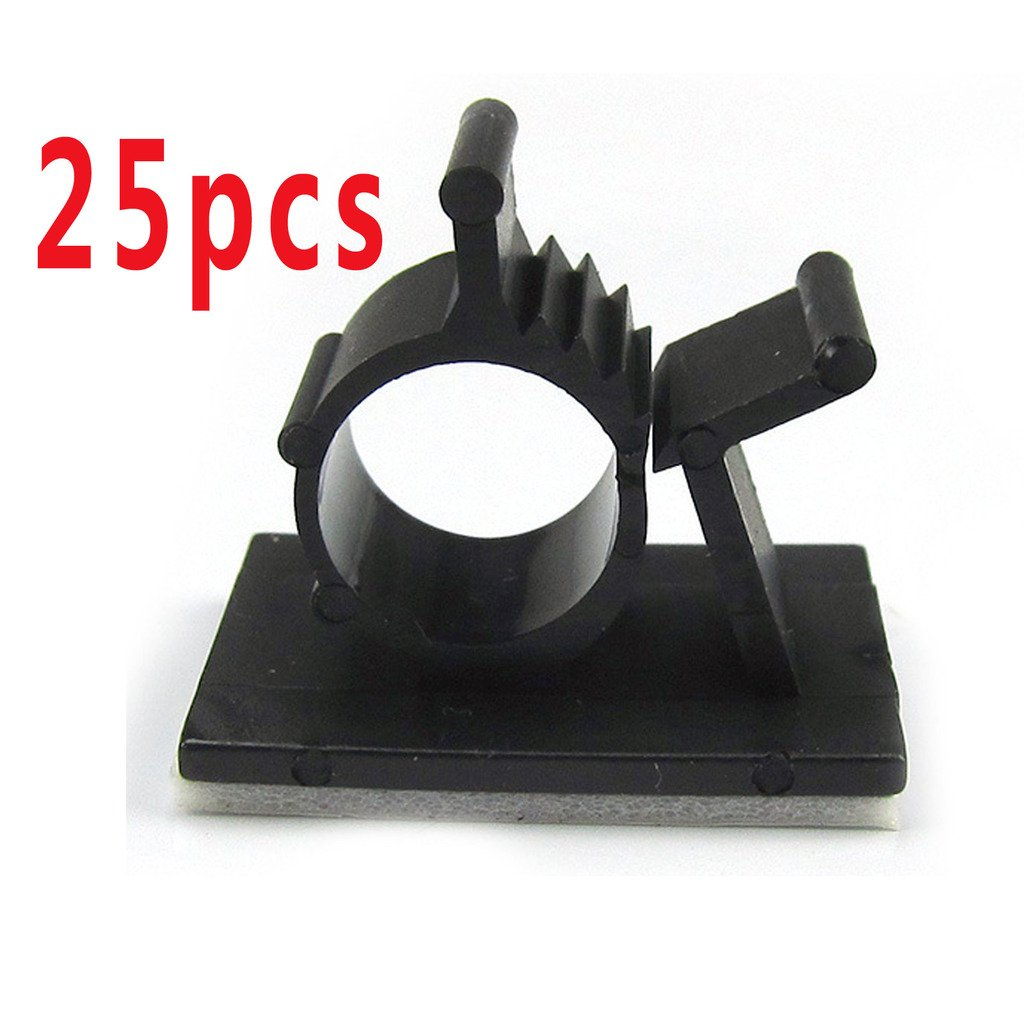 25 Pcs Black Adhesive Backed Nylon Wire Adjustable Cable Clips Clamps Fit for Cable Diameter(Max.) : 0.4in/10mm Yellow River