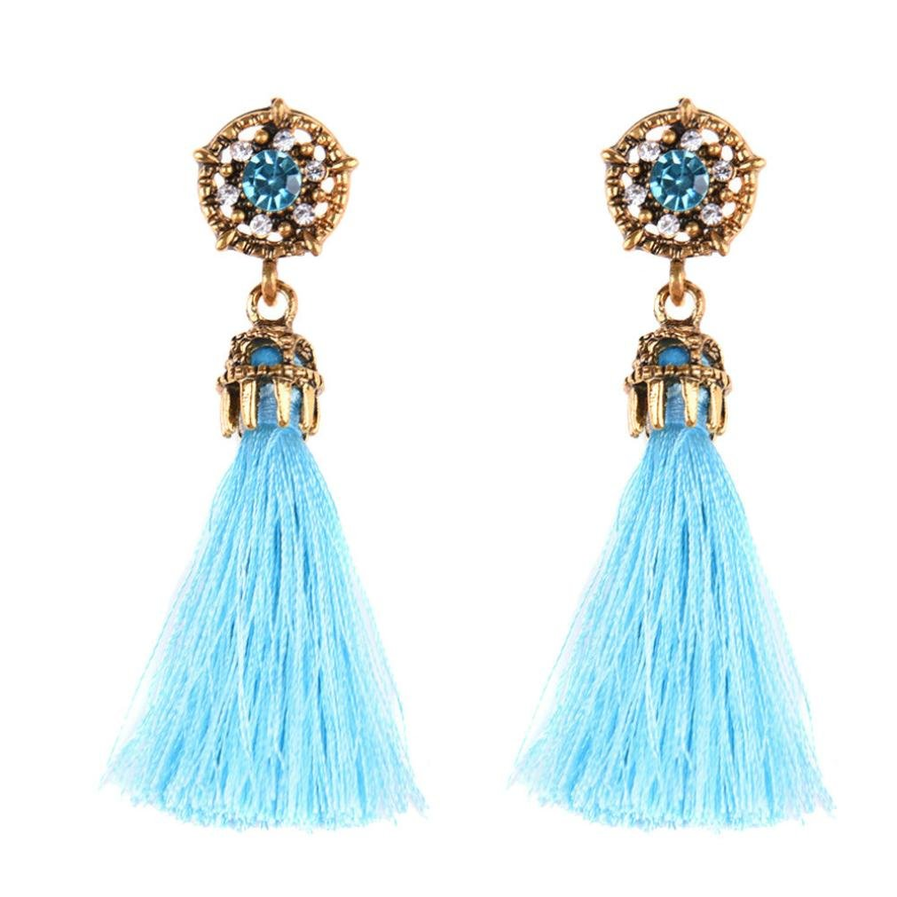 Minshao Vintage Style Rhinestones Crystal Tassel Dangle Stud Earrings (Pink)