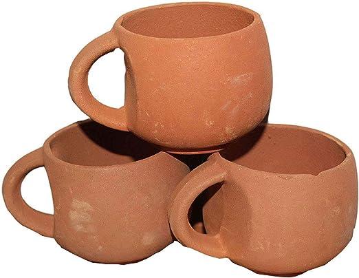 Amazon Com Odishabazaar Terracotta Real Mitti Unglazed Clay Mud Tea Cup Set Of 3 Using For Tea And Coffee 120ml Teacups