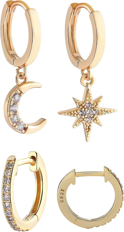 VAMEI 2 pares Pendientes de estrella Pendientes de aro de cristal cuelgan Joyas de mujer Pendientes de luna de estrella Pequeños aros Pendiente de gota Pendientes de boda de diamantes