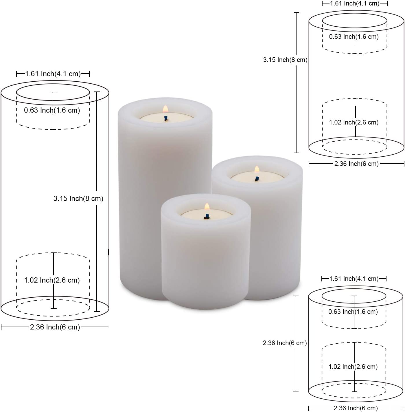 NIGHTKEY White Polyolefin Resin Tealight Candle Holder Party Set of 3 Decorative Tealight Candlestick Holder for Wedding Dinning