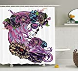 KANATSIU Dead Illustration Sugar Skull Girl in Wreath Print Shower Curtain 12 Plactic Hooks,100% Made Polyester,Mildew Resistant & Machine Washable,Width x Height is 60x72