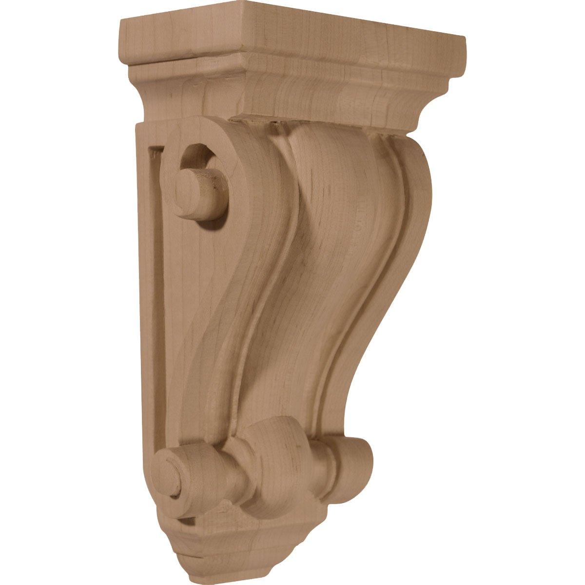Ekena Millwork CORW04X02X07COMA 4-Inch W x 2 1/2-Inch D x 7 1/2-Inch H Cole Pilaster Wood Corbel, Maple