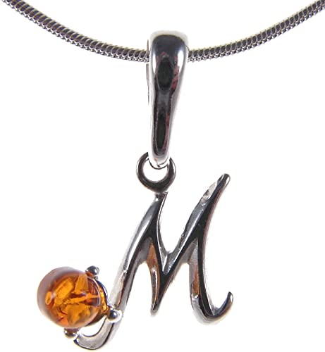 BALTIC AMBER STERLING SILVER 925 ALPHABET LETTER G PENDANT NECKLACE JEWELLERY