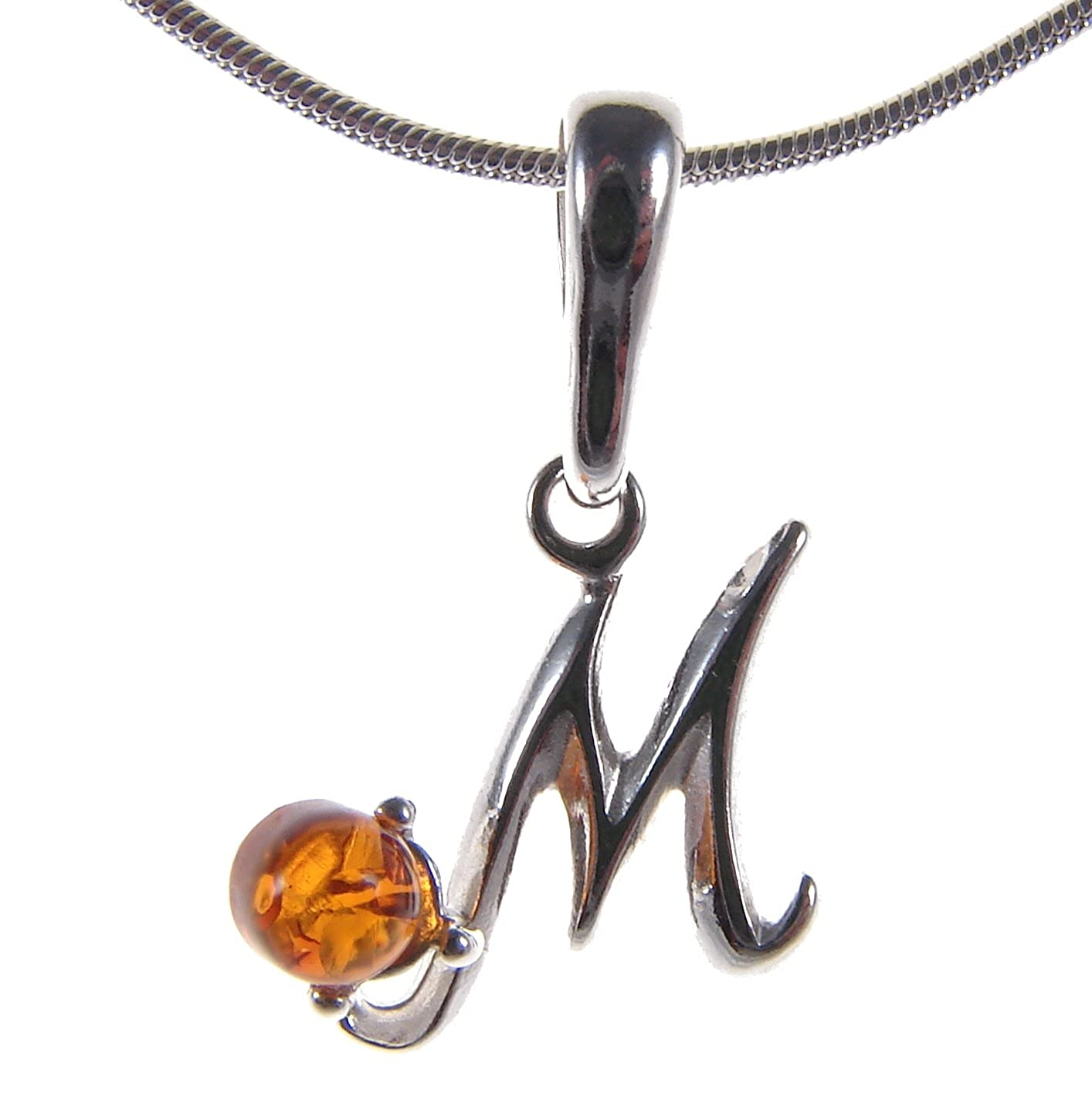 BALTIC AMBER AND STERLING SILVER 925 ALPHABET LETTER M PENDANT NECKLACE 10 12 14 16 18 20 22 24 40 1mm ITALIAN SNAKE CHAIN