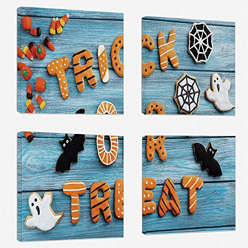 4pcs/set Modern Painting Canvas Prints Wall Art For Home Decoration Vintage Halloween Print On Canvas Giclee Artwork For Wall DecorTrick or Treat Cookie Wooden Table Ghost Bat Web Halloween-Blue Amber -