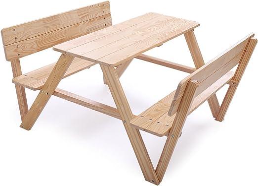 Cypress Shop - Juego de Mesa de Picnic Infantil de Madera con Bancos para niños, Mesa de Camping y sillas de Interior con Respaldo para Patio, jardín, césped, Muebles de hogar: Amazon.es: