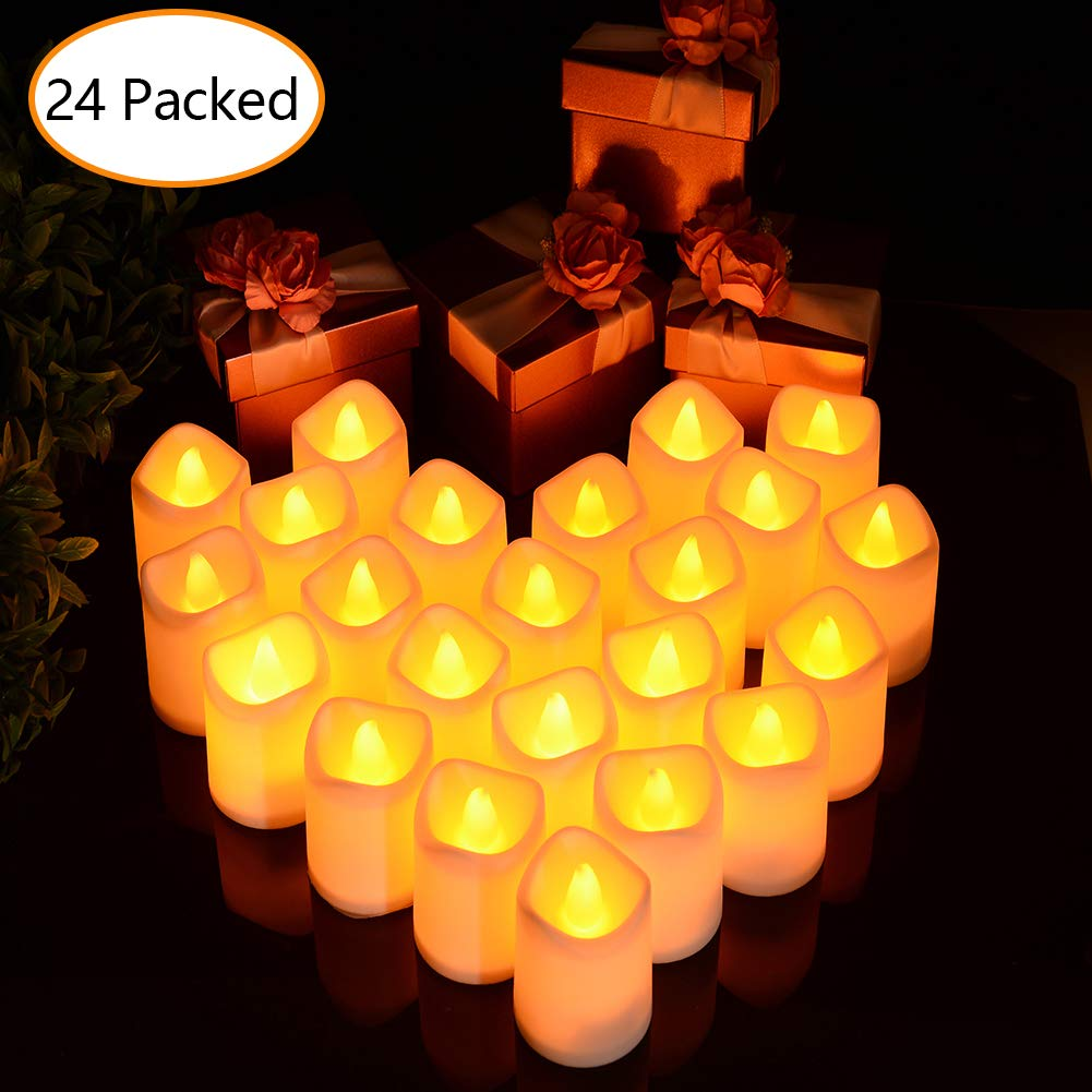 Litake Flameless LED Tea Light Candles, Pack of 24, Battery Powered Flickering Fake Candles, Unscented Tealights, Realistic Tealight Candles in Warm White