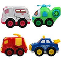 Cartup Unbreakable Automobile Car Toy Set , Pull Back Car Truck Toy Set for Kids - 4 Toys . Ambulance, Fire Truck, Helicopter, Police car