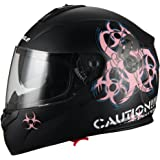 """Biohazard"" Full Face Matte Pink Dual Visor Street Bike Motorcycle Helmet by Triangle [DOT] (X-Large)"