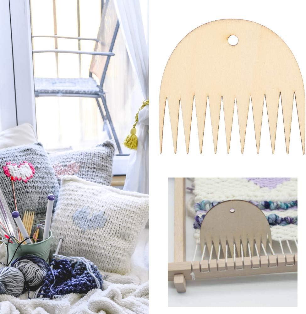 DaMohony Wooden Weaving Comb 11 Teeth Tapestry Weaving Loom Comb Tool DIY Braided Accessories