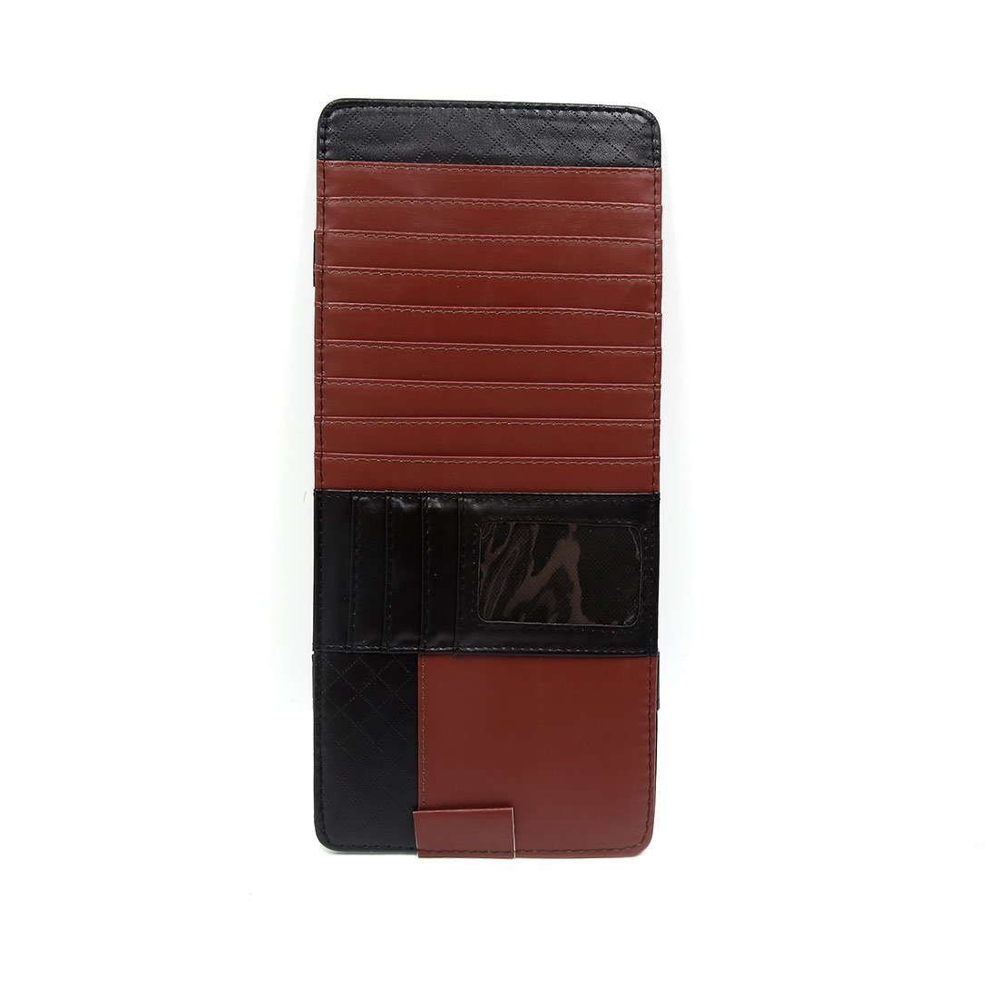 uxcell Brown Black Faux Leather Automobile Car Sun Visor CD Pocket Card Organizer