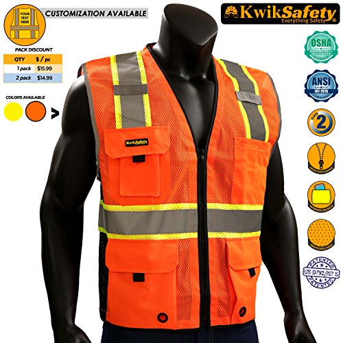 KwikSafety BIG KAHUNA | Class 2 Deluxe Safety Vest | 360° High Visibility Reflectivity ANSI Compliant Work Wear | Hi Vis 8 Pocket Breathable Mesh Men & Women Regular to Oversized Fit | Orange S/M