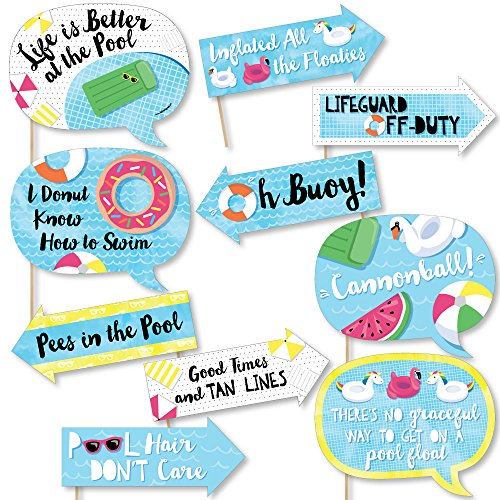 Funny Make A Splash - Pool Party - Summer Swimming Party or Birthday Party Photo Booth Props Kit - 10 Piece