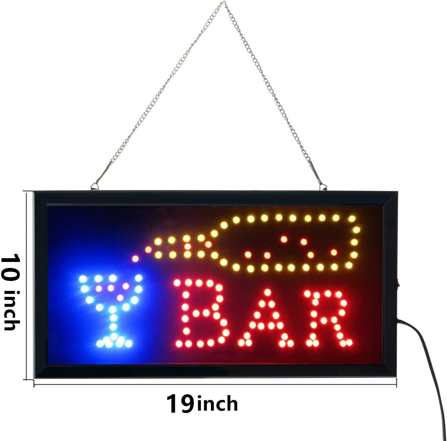 Bar Open Sign Led Neon Light Sign Electric Display Sign 19x10inch Two Modes Flashing /& Steady Light for Business Bar Sign Led Bar Signs