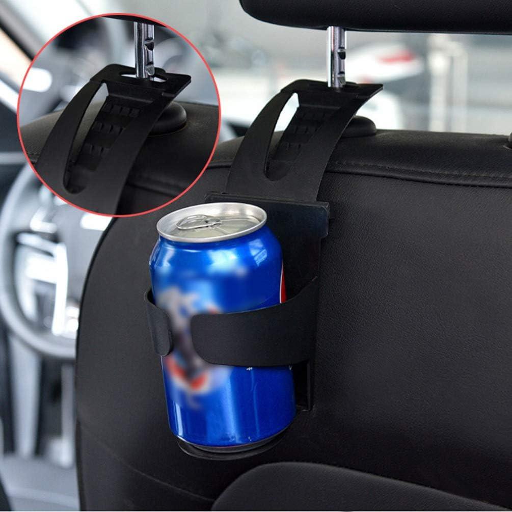 Paquete de Caja de Color Negro Garneck Soporte de Bebida para Coche 2 Piezas Ganchos para Reposacabezas Organizador de Coche Percha de Almacenamiento para Botella de Bebida