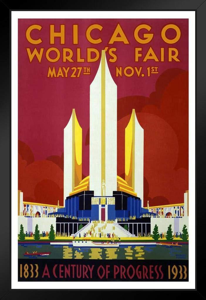 Chicago Worlds Fair 1933 Retro Travel Black Wood Framed Art Poster 14x20