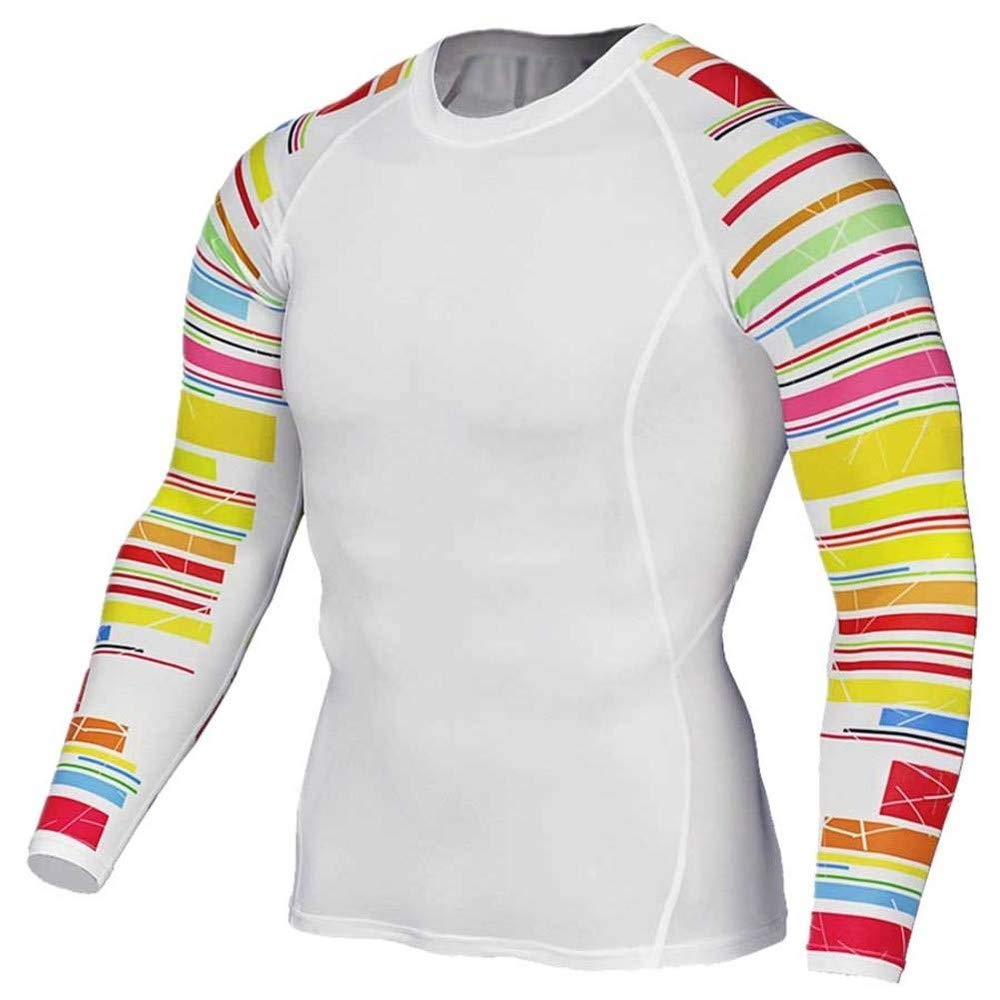 Long Sleeve Compression Workouts Shirt Dri-fit Fitness Running Top Tee White