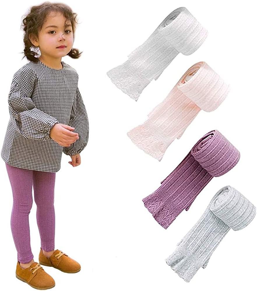 FLARY Soft Stretchy Basic Full Length Cotton Tights Leggings 2 Pack//3 Pack for Toddlers//Little Kids