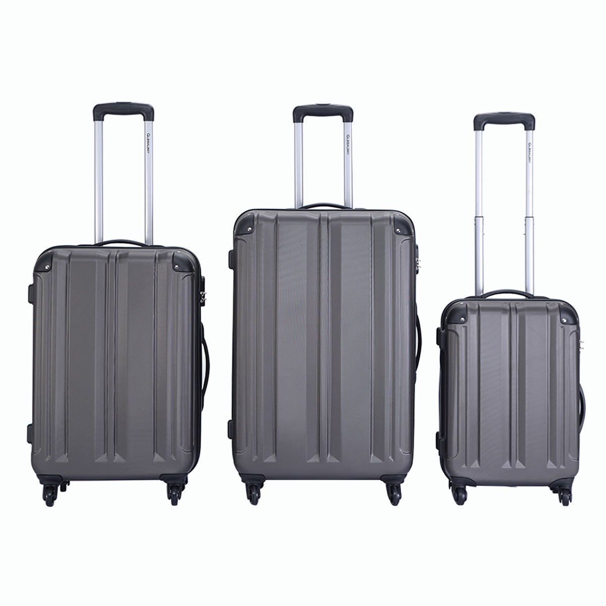 Goplus 3 Pcs 20'' 24'' 28'' Luggage Travel Set Bag ABS Trolley Suitcase Gray