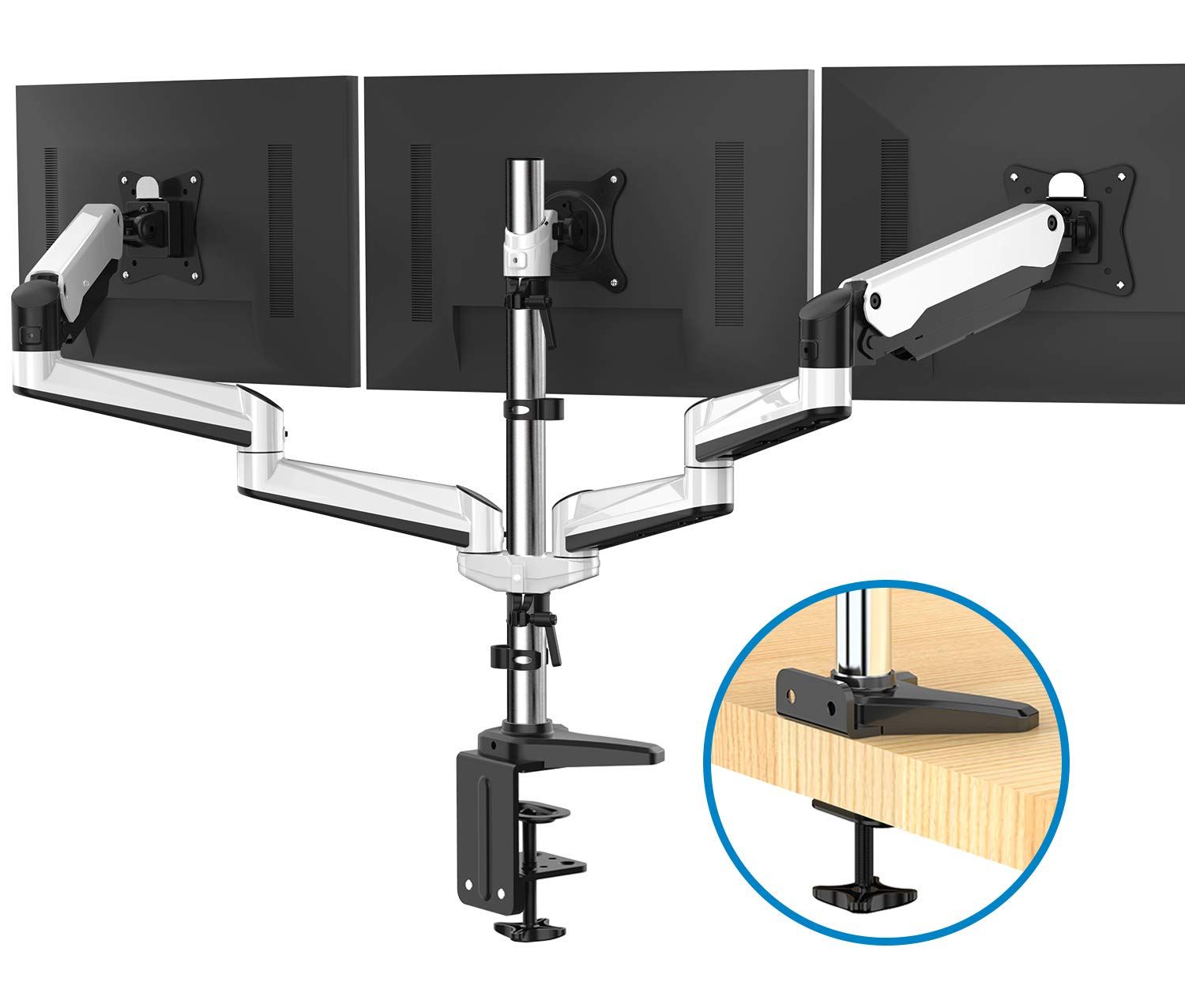 Triple Monitor Stand - Full Motion Articulating Aluminum Gas Spring Monitor Mount Fit Three 17 to 32 inch LCD Computer Screens with Clamp, Grommet Kit by HUANUO