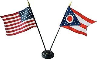 product image for 4x6 E-Gloss Ohio Stick Flag w/U.S. Stick Flag & 2 Flag Plastic Table Base - Qty 6