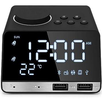 Reloj Despertador para los durmientes Pesados Dormitorio Radio Relojes de Escritorio Pantalla Digital Atenuador Posponer Temperatura Música Adultos USB ...