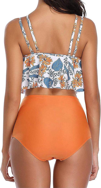 ebuddy Swimwear Women Ruffled Top High Waist Bottom Design Bikini Tankini Set
