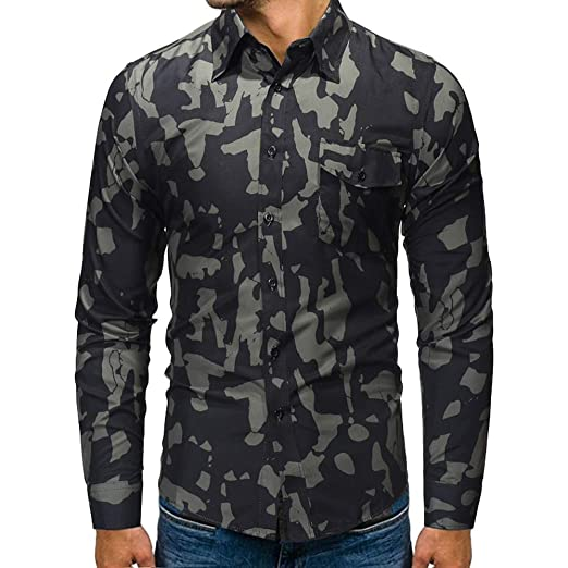 1e1bf8d107a23 Realdo Mens Camouflage Shirt, 2018 Newest Casual Autumn Winter Stand Collar  Top Tee Blouse Clearance