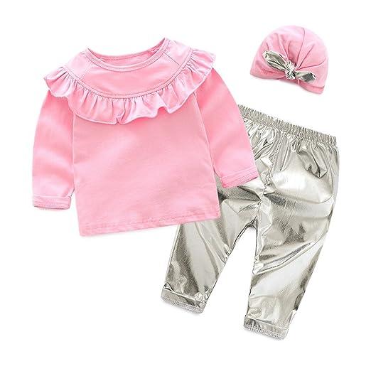 913b9c91d12d04 Tem Doger Kids Baby Girls Pink Ruffles Flouncing Sleeve Shirt Tops + PU Leather  Pant +