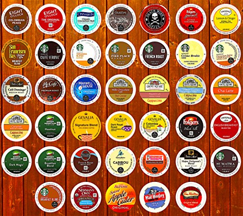 40-Count Top Brand Coffee, Tea, Cider, Hot Cocoa and Cappuccino K-Cup Variety Sampler Pack, Single-Serve Cups for Keurig Brewers, Including Folgers, Peets, Starbucks, Death Wish Coffees & More