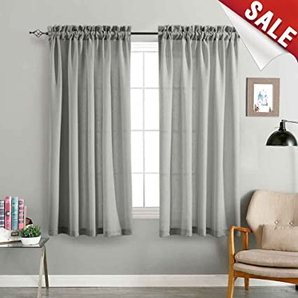 Incroyable Grey Sheer Curtains For Living Room 63 Inches Length Curtain Casual Weave  Textured Semi Sheer Privacy
