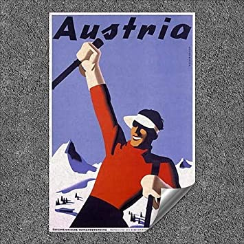 Vintage Poster by Joseph Binder Outdoor Contour Wall Decor 5-Pack | 18x27 CGSignLab |Austria Ski Vacation