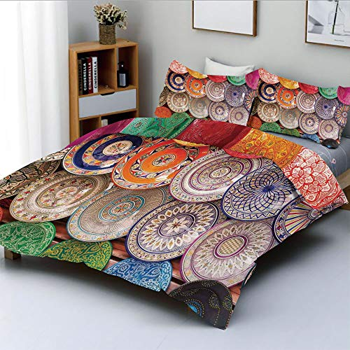 Duplex Print Duvet Cover Set King Size,Traditional Arabic Handcrafted Colorful Plates Shot at The Market in MarrakeshDecorative 3 Piece Bedding Set with 2 Pillow Sham,Best Gift for Kids & Adult